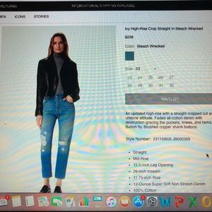 J Brand Ivy High-Rise Cropped/Distressed Jeans